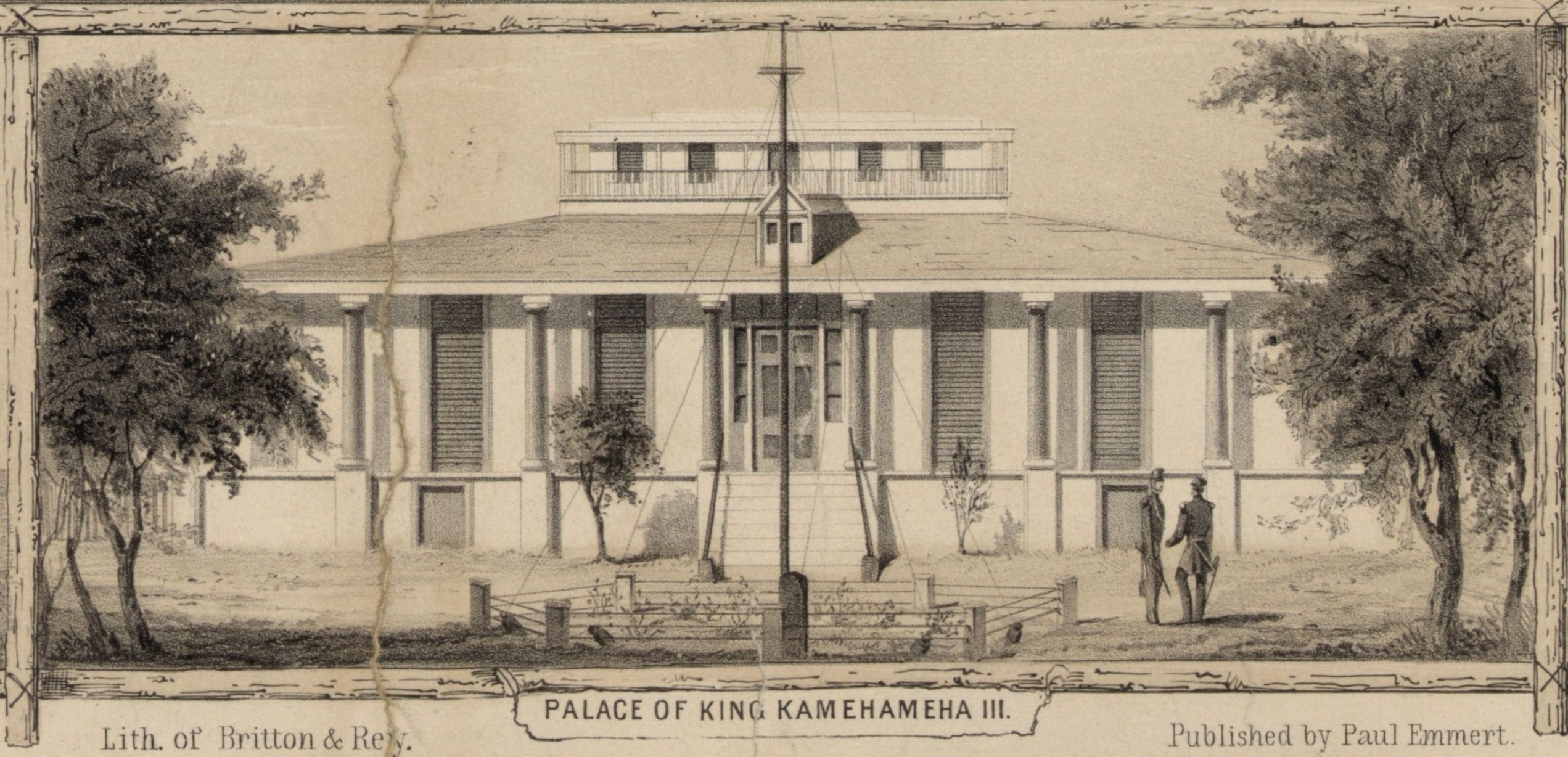 FilePalace Of King Kamehameha III From The Harbor C 1853