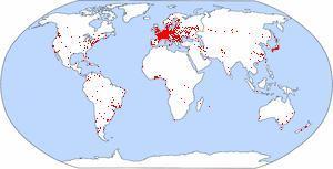 Mapa que indica onde há anfitriões do Pasporta Servo (2005)