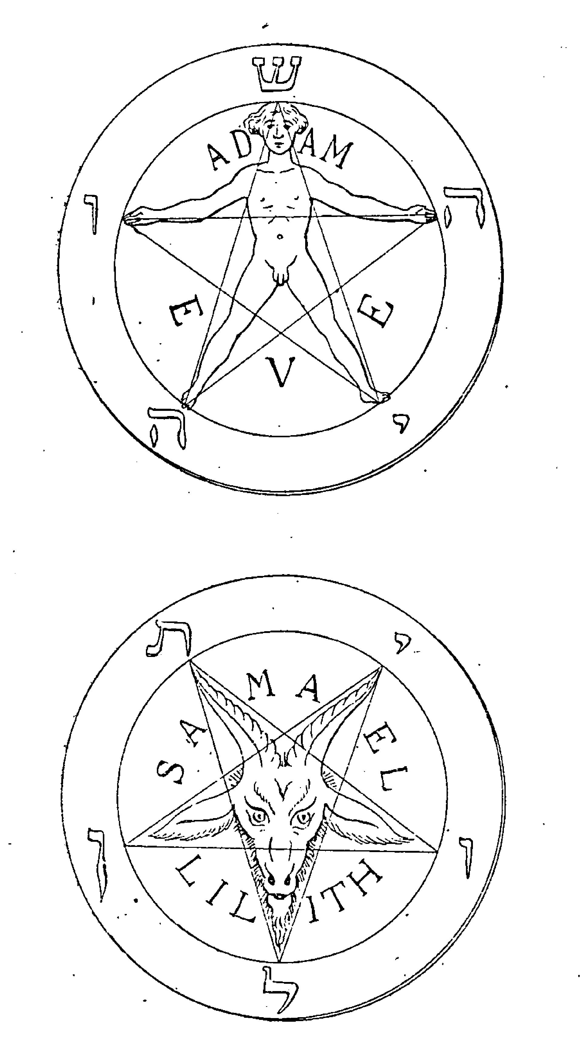 Two pentagrams taken from the 1897 book 'La Clef de la Magie Noire' by Stanislas de Guaita.