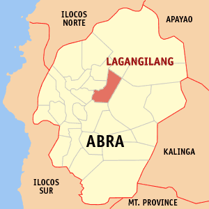 Map of Abra showing the location of Lagangilang