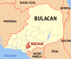 Map of Bulacan showing the location of Bocaue