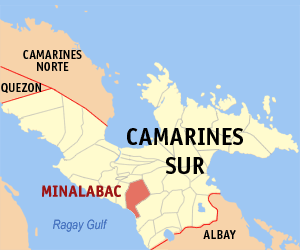 Map of Camarines Sur showing the location of Minalabac