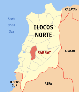 Map of Ilocos Norte showing the location of Sarrat