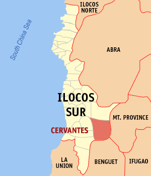 Map of Ilocos Sur showing the location of Cervantes