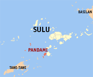 Map of Sulu showing the location of Pandami