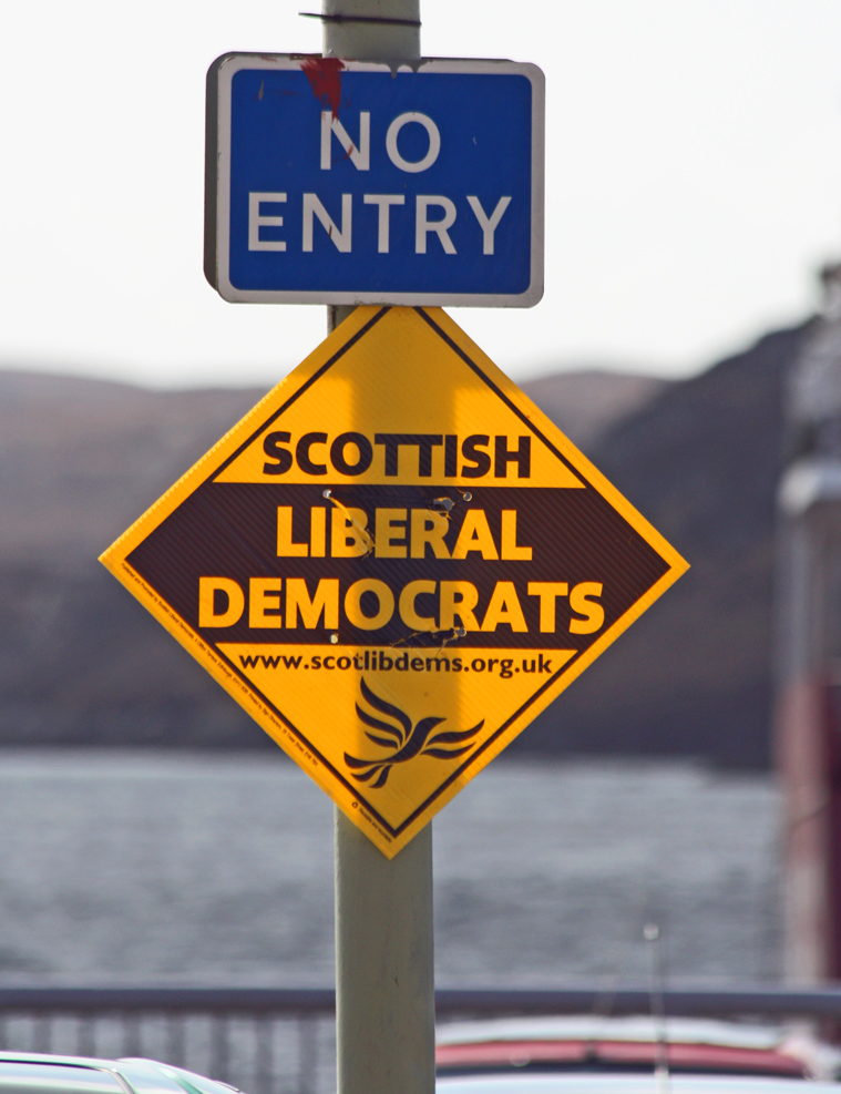 A Lib Dem sign with a