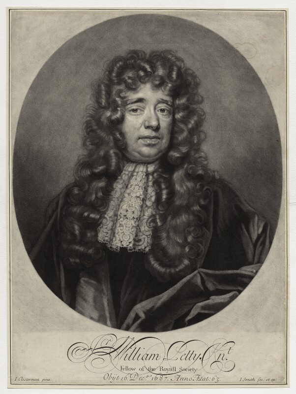 Sir William Petty, [[mezzotint]] by [[John Smith (engraver, born 1652) John Smith]] after [[John Closterman]]