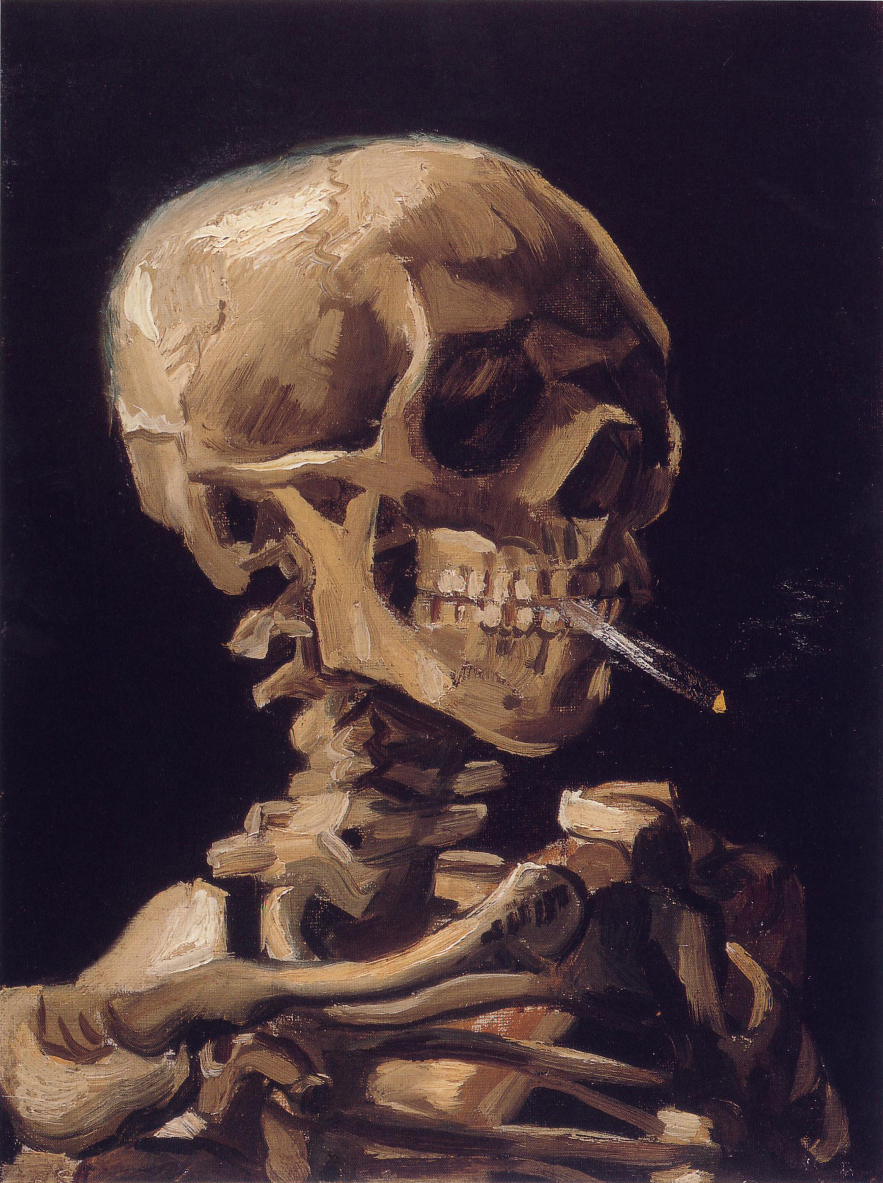 Painting:  Skull of a Skeleton with Burning Cigarette, 1885–1886, oil on canvas, Van Gogh Museum