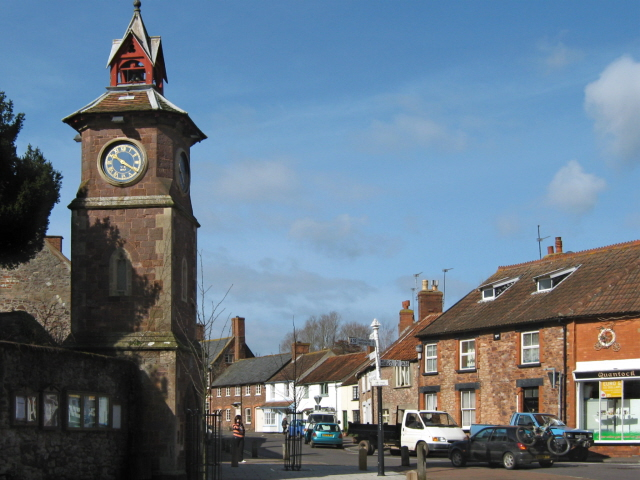 The village clock and Castle Street, Nether Stowey - geograph.org.uk - 1766807