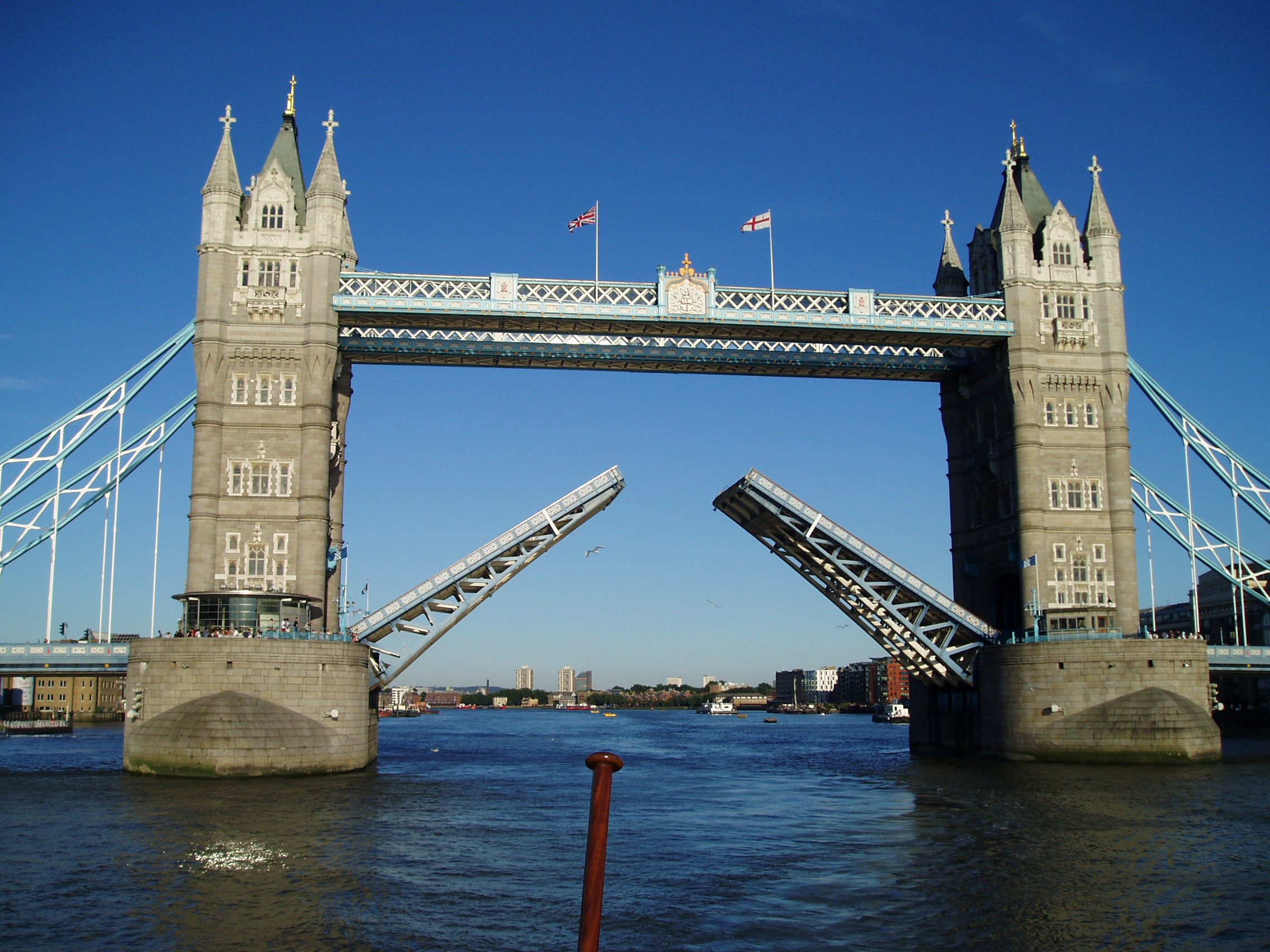 Tower bridge, London opening for a ferry.jpg
