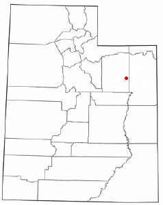 Location of Myton, Utah