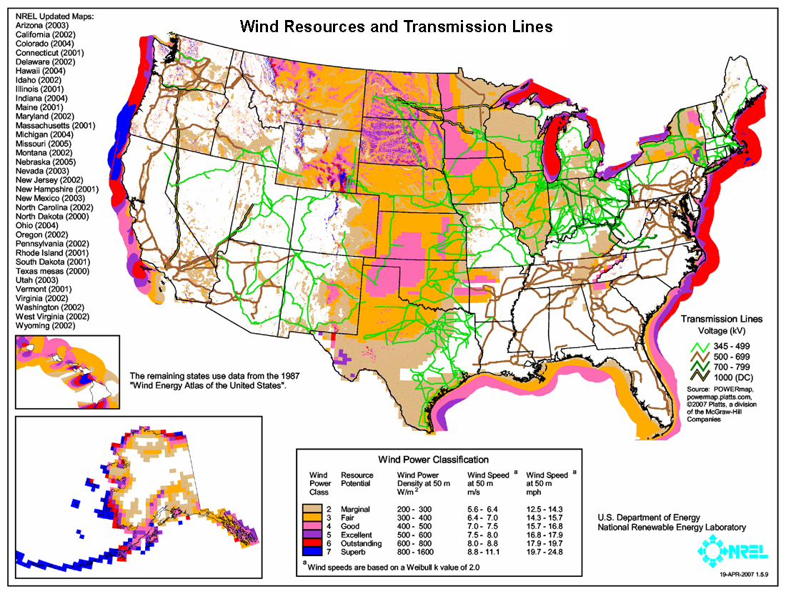 Wind Farm Wikipedia - Map of the wind farms in the us