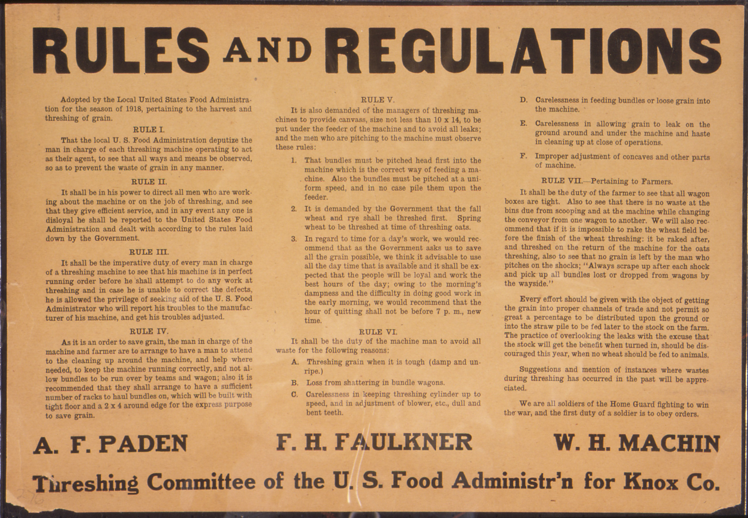File Quot Rules And Regulations Threshing Committee Of The U