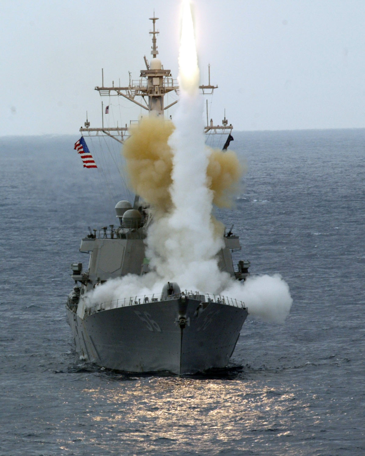 US Navy 040206-N-2970T-001 Guided missile destroyer USS John S. McCain (DDG 56) fires a RIM-66 standard surface-to-air missile during a training exercise