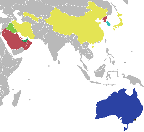 Result of countries participating in the 2015 AFC Asian Cup Champion Runner-up Third place Fourth place Quarter-finals Group stage 2015 AFC Asian Cup.png