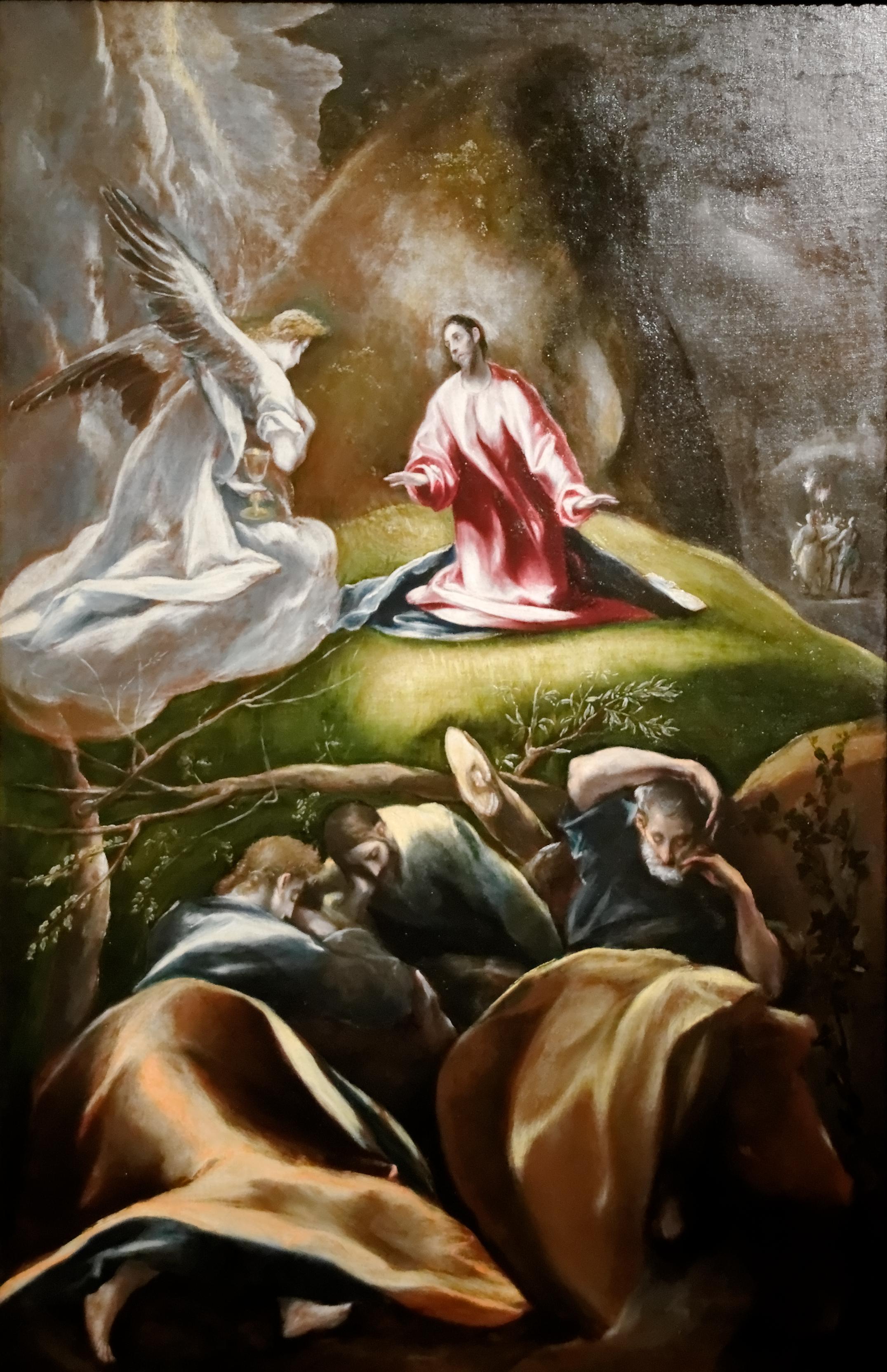 Pierre, Jacques et Jean au Jardin des oliviers pour prier avec Jésus (El Greco)