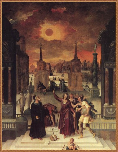 Astronomers Studying an Eclipse painted by Antoine Caron in 1571