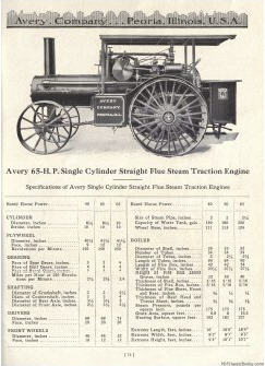 "Page from the Avery Company catalog describing their ""65hp Single Cylinder Straight Flue Steam Traction Engine"""
