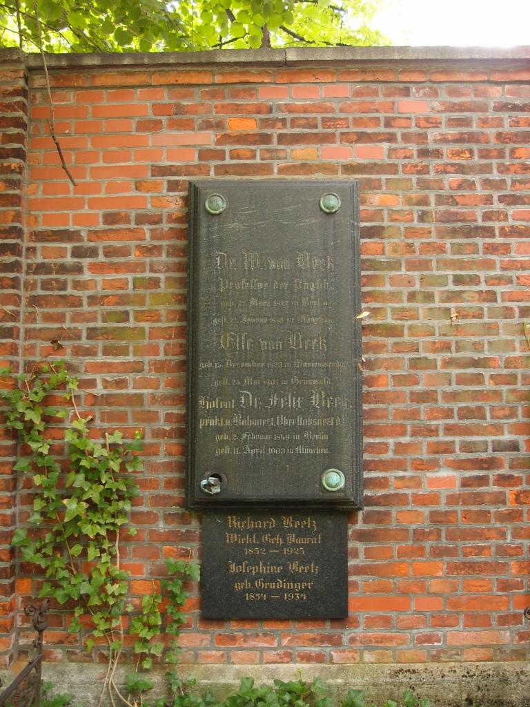 Gravesite of Beetz at [[Alter Nordfriedhof (Munich)