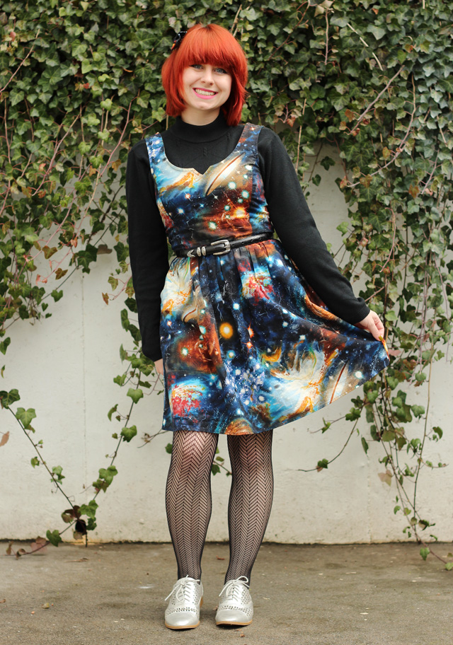 e06f2fa634b File Black Mock Neck Sweater Under a Galaxy Print Dress with Herringbone  Patterned Tights and Silver Shoes (17122234941).jpg