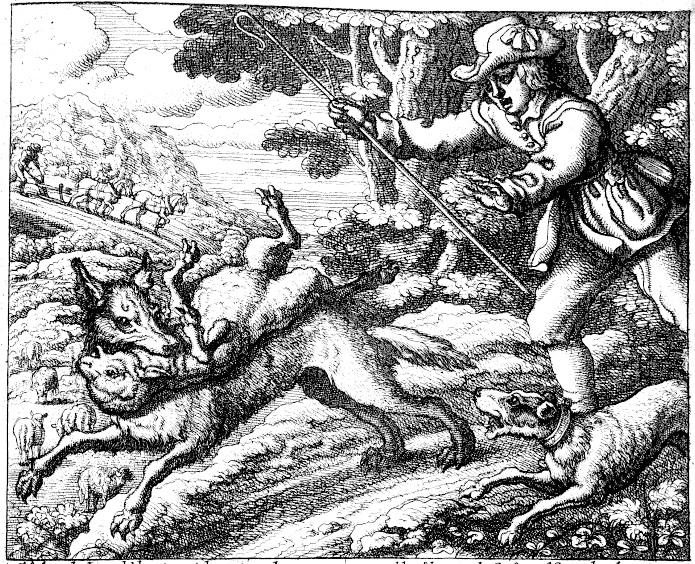 Illustration by Francis Barlow Aesop's fable The Boy who Cried Wolf, called by him DE PASTORIS PUERO ET AGRICOLIS, 1687