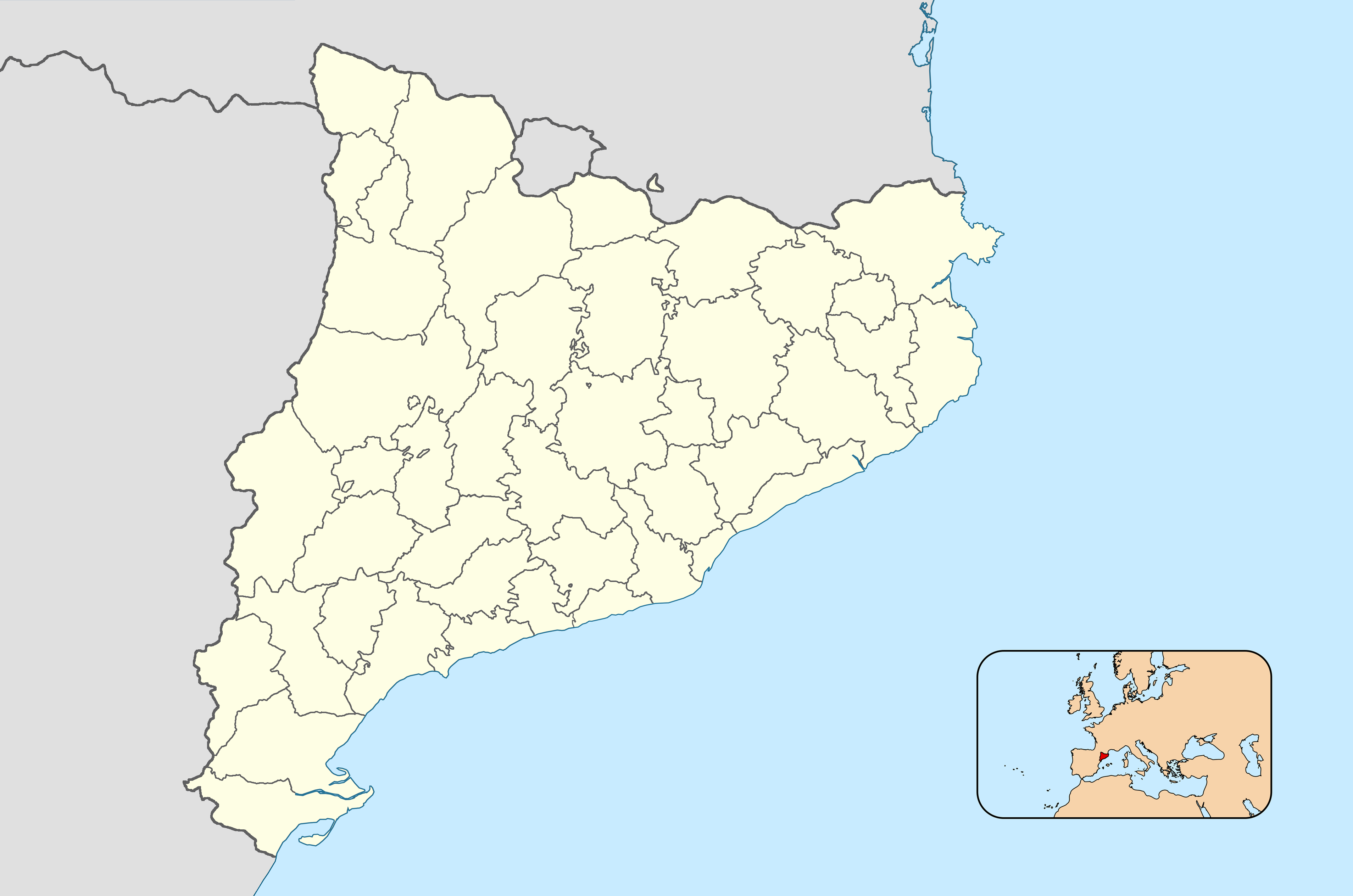 Mapa Mut De Catalunya.File Catalonia Base Map 42 Comarques Png Wikimedia Commons