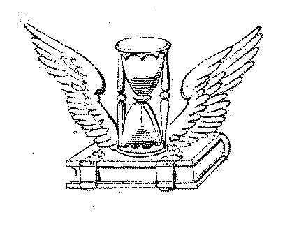 "A winged hourglass, a literal depiction of the well-known Latin epitaph tempus fugit (""time flies"") E4CC appendix2.jpg"