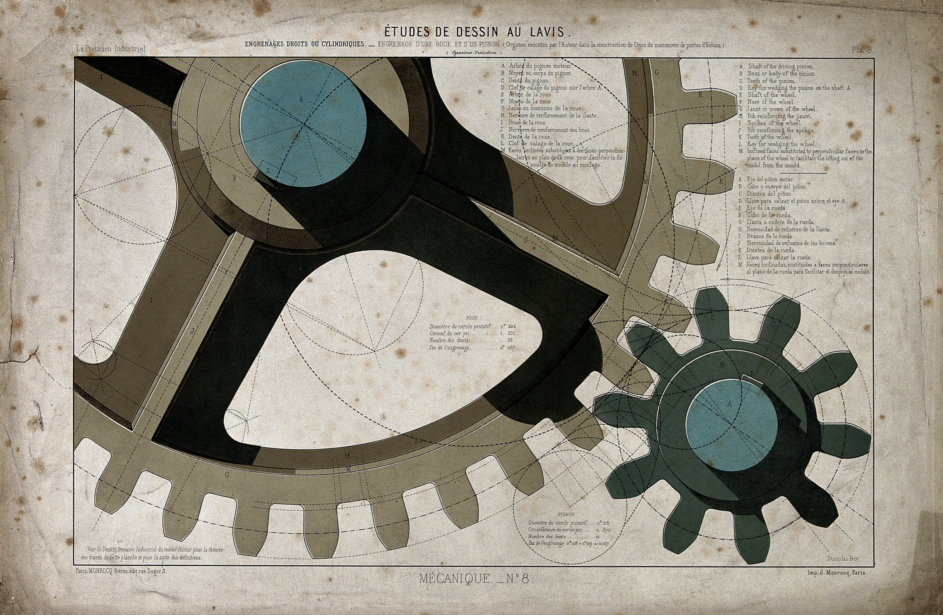 File:Engineering; large cogs meshing together, and diagrams of ep ...