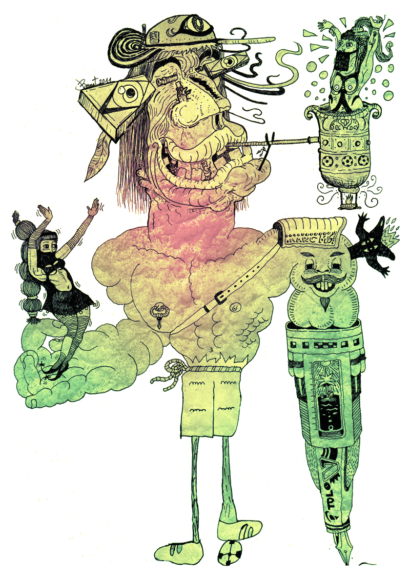 Exquisite Corpse Example. By Perrossemihundidos (Own work) [CC BY-SA 3.0 (http://creativecommons.org/licenses/by-sa/3.0)], via Wikimedia Commons.