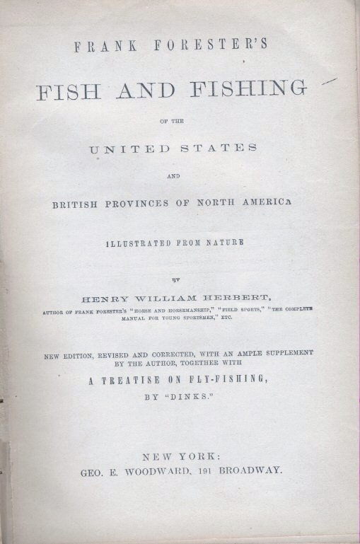 Title Page of Frank Forester's ''Fish and Fishing of The United States'' (1859)