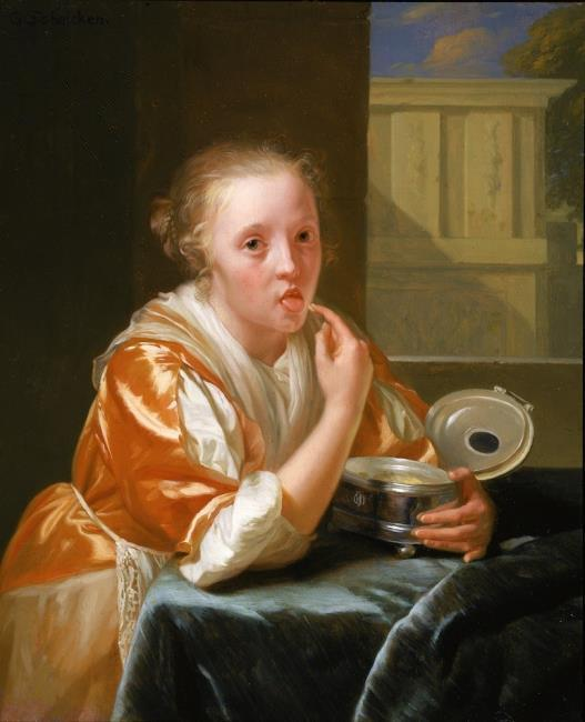 English: Young Girl Eating Sweets, oil paintin...