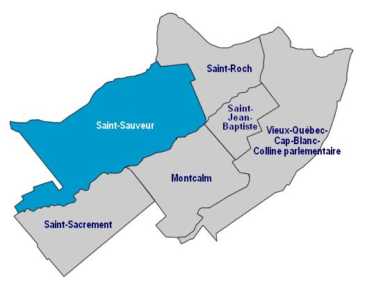 Carte très simple présentant les quartiers centraux.  Celui de Saint-Sauveur est mis en vedette en bleu ciel (les autres étant gris).