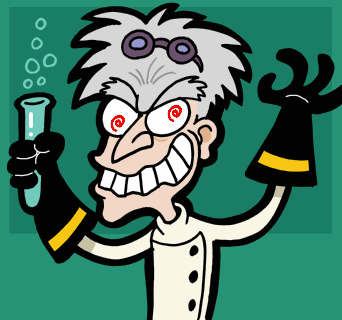 Mad scientist caricature 2
