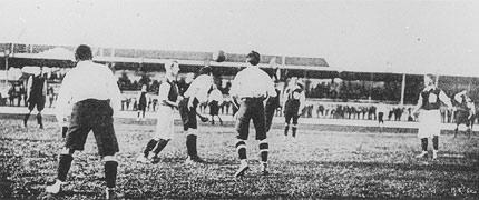 The Final of the football tournament at the 1900 Olympic Games. Upton Park (Great Britain) v USFSA (France) Credit - IOC Museum Collection