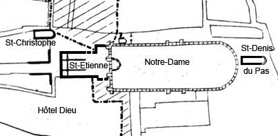 Emplacement de la cathédrale Saint-Étienne de Paris.