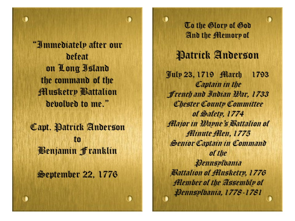 Patrick Anderson plaques at Valley Forge Chapel
