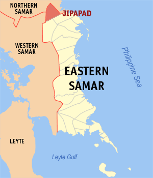 Map of Eastern Samar showing the location of Jipapad