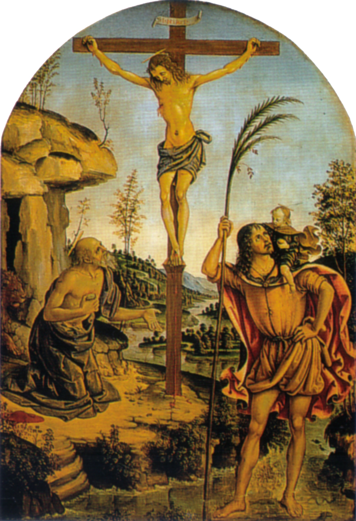 Crucifixion Between Sts  Jerome And Christopher
