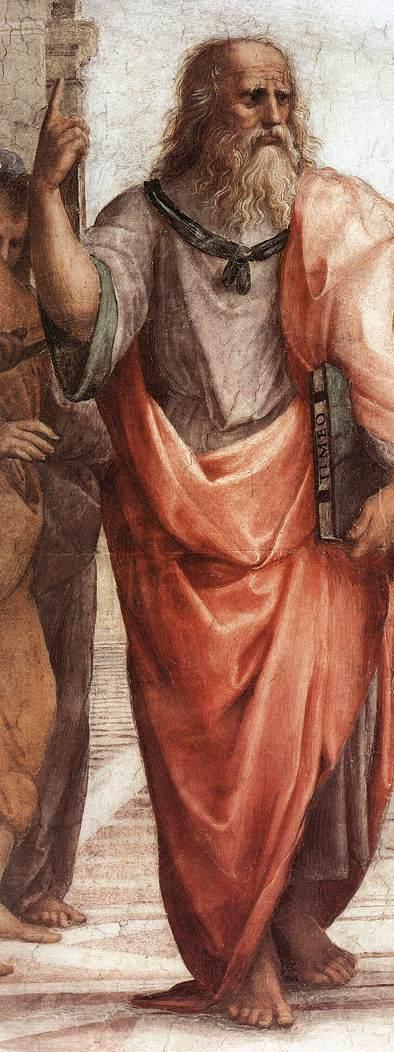 Plato, holding his Timaeus detail from the Vatican fresco The School of Athens Platon.JPG