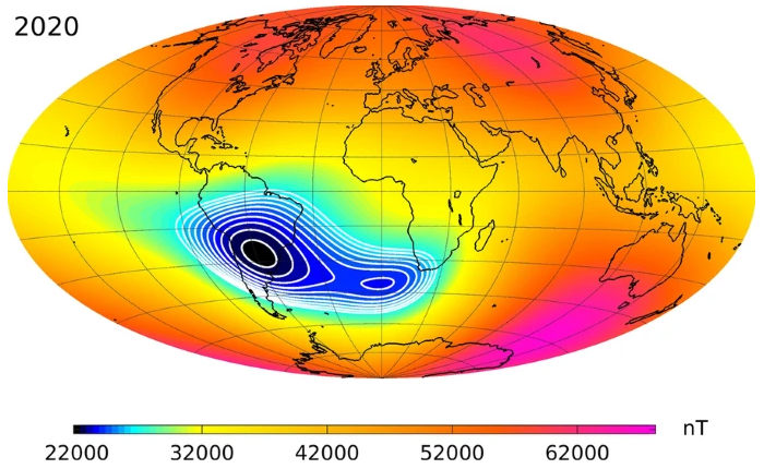 The South Atlantic Anomaly (SAA) is an area where Earth's inner Van Allen radiation belt comes closest to Earth's surface, dipping down to an altitude