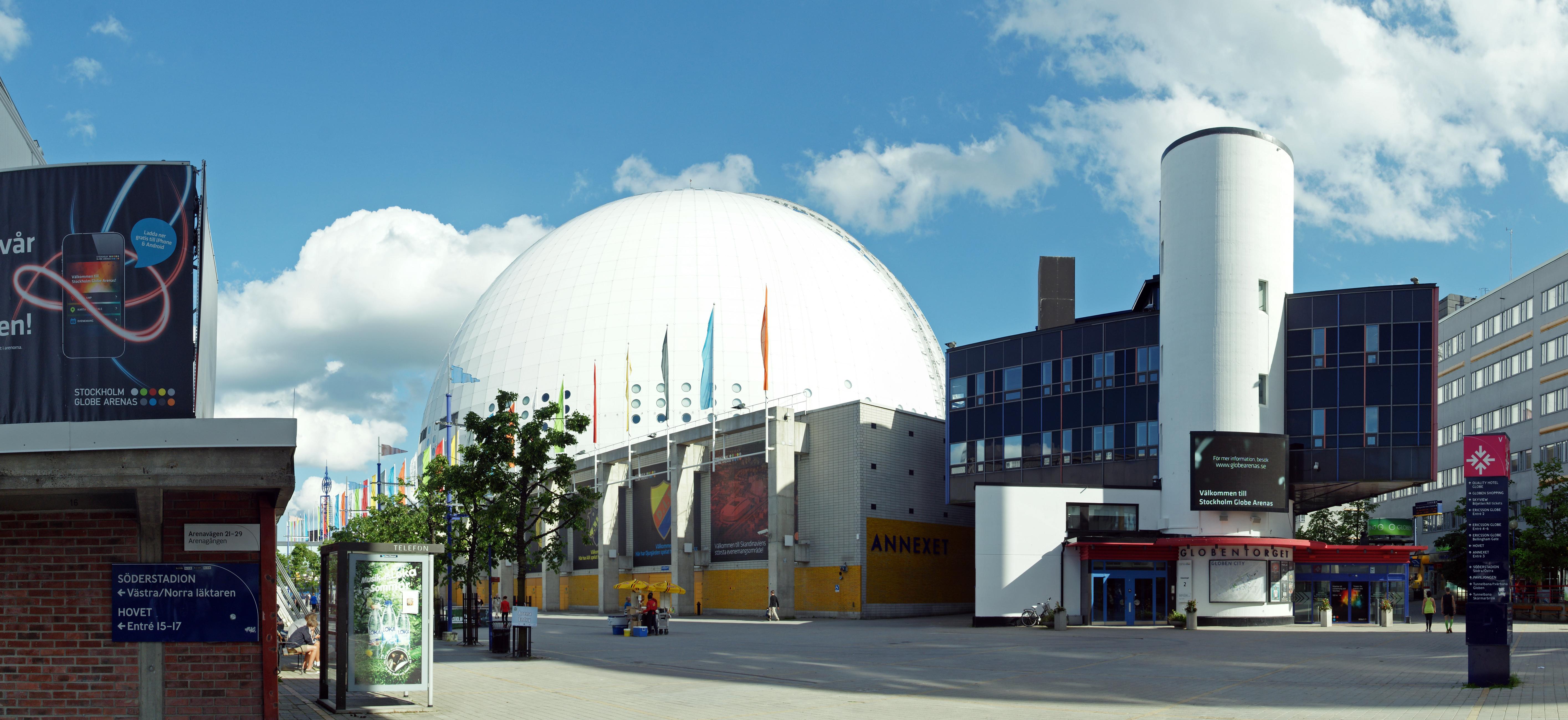 Прямо по центру - Globen. Слева - начало пресс-центра (Арена Hovet).
