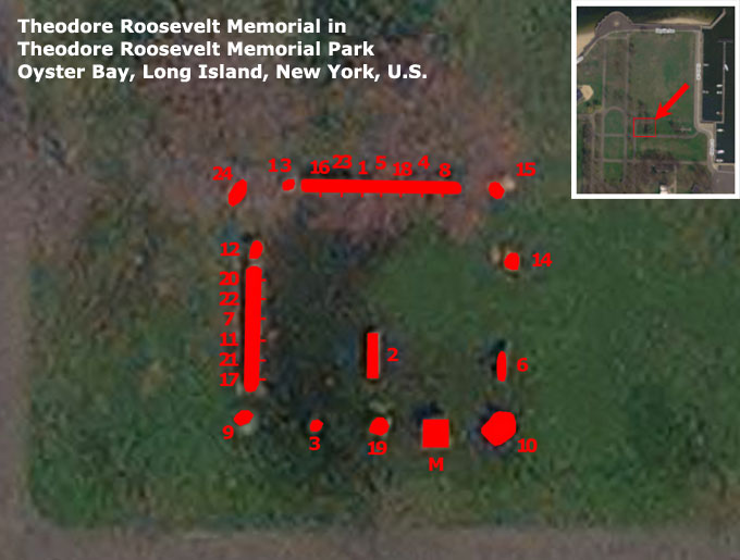 Map of Theodore Roosevelt Memorial in Theodore Roosevelt Memorial Park, Oyster Bay, NY