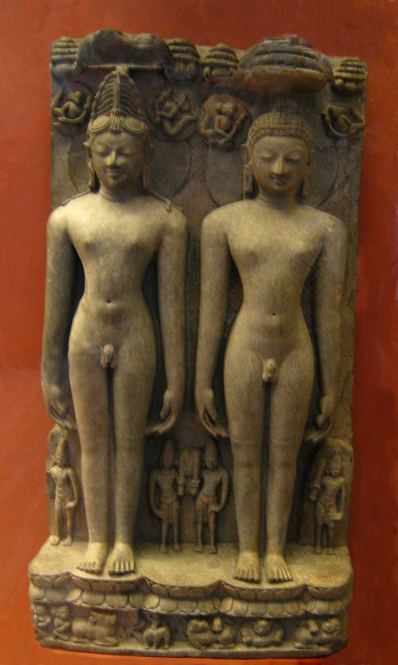 Sculpture representing two founders of Jainism: left, Rishabha first of the 24 tirthankaras; right Mahavira, the last of those 24, who consolidated and reformed the religious and philosophical system.