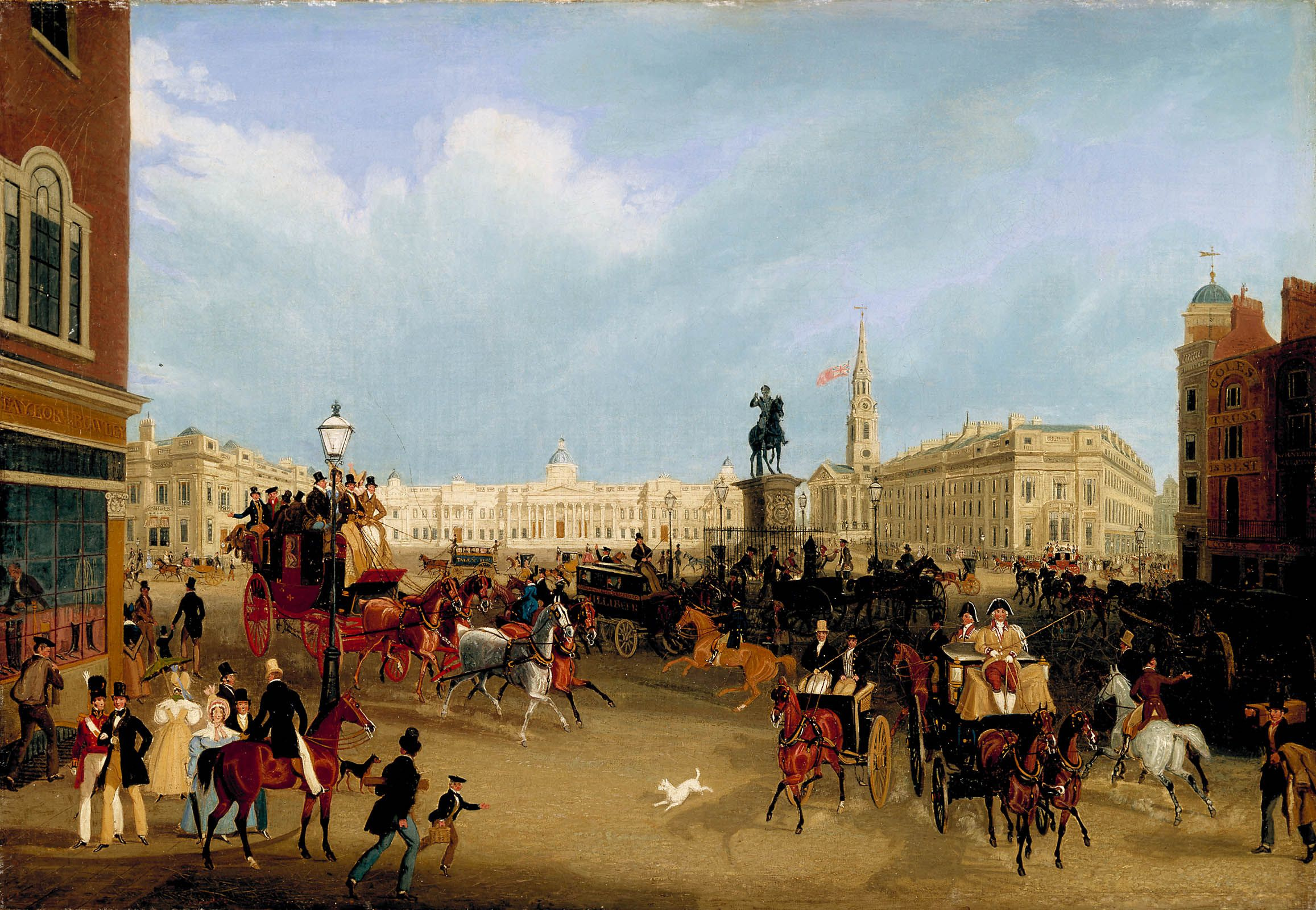 Description Trafalgar Square by James Pollard.jpg