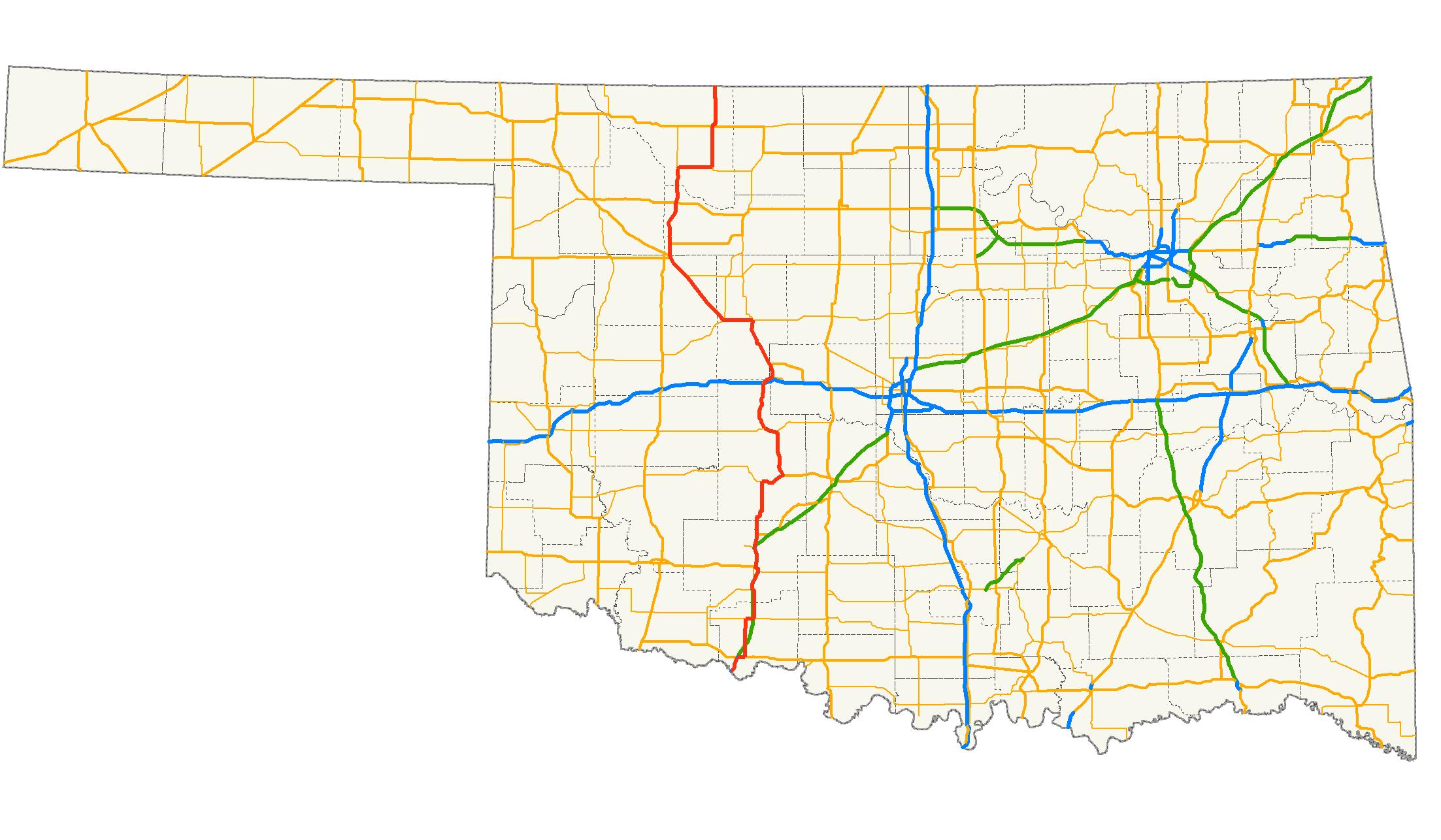 FileUS Oklahoma Mappng Wikimedia Commons - Okla map road