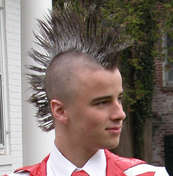 Young man wearing a Mohawk.