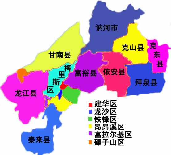 齐齐哈尔市行政区划图图片