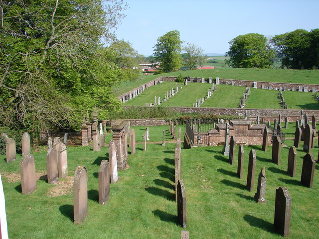 Applegarth & Sibbaldbie Parish Churchyards View from external staircase on north side of church. The old graveyard (foreground) contains two Jardine family burial enclosures (from 17th century); the same graveyard also contains 4 war graves.
