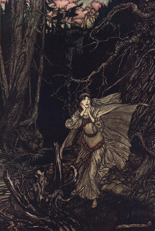 Woman fleeing in woods
