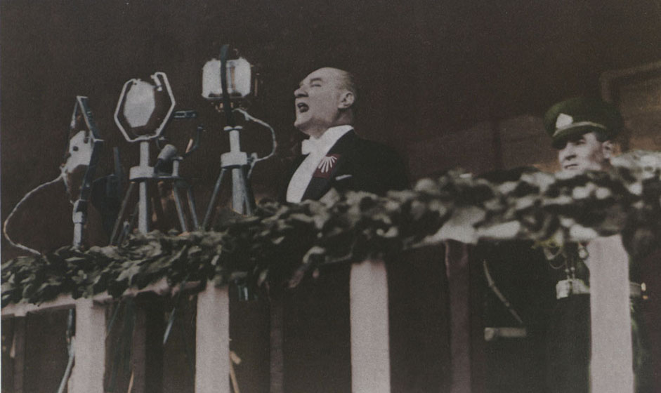 Mustafa Kemal delivering a speech at the 10th Anniversary of the Turkish Republic.